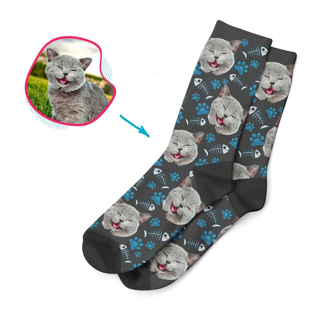 dark Cat socks personalized with photo of face printed on them