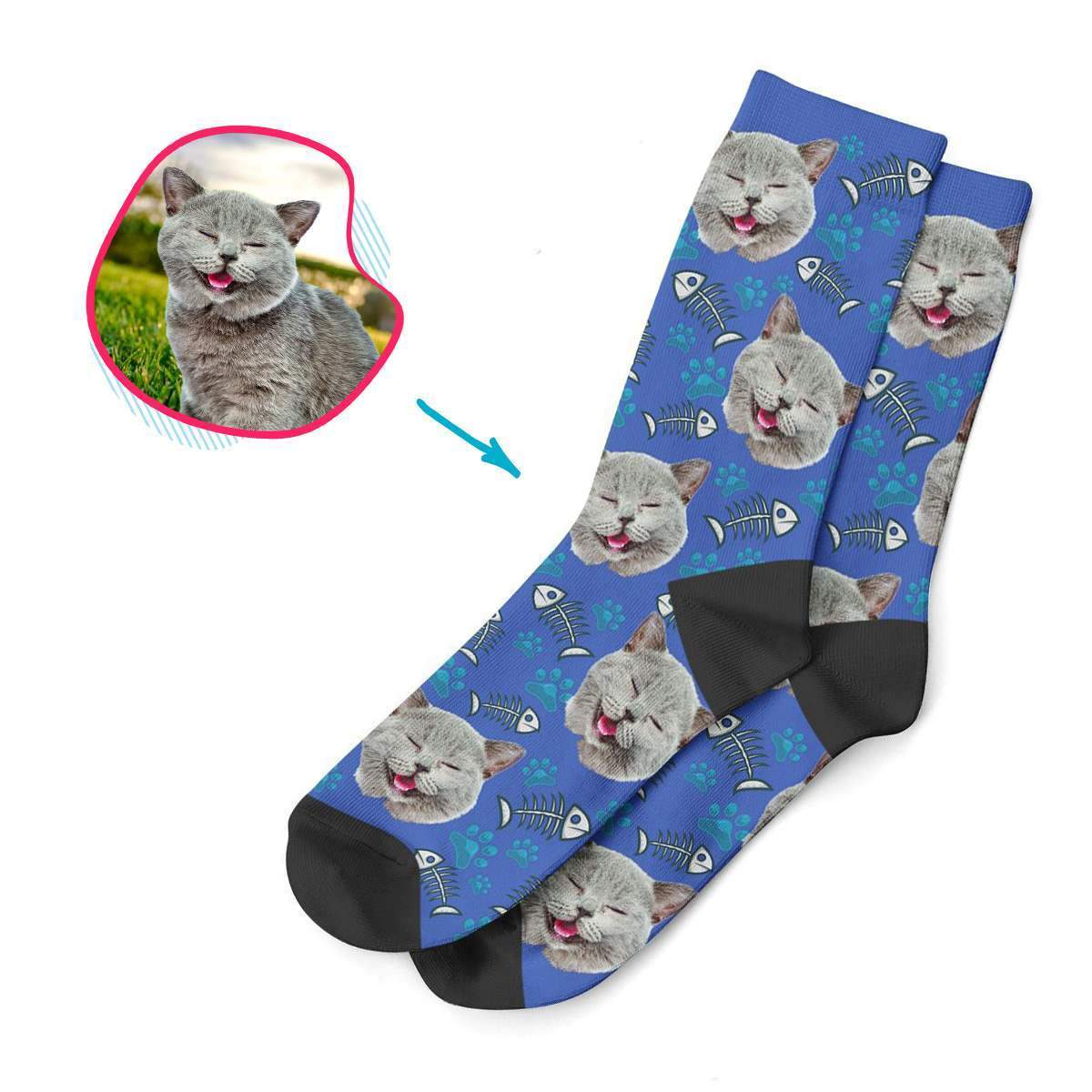 darkblue Cat socks personalized with photo of face printed on them