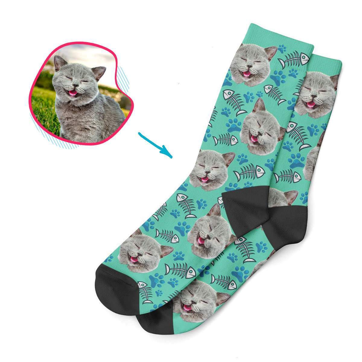 mint Cat socks personalized with photo of face printed on them
