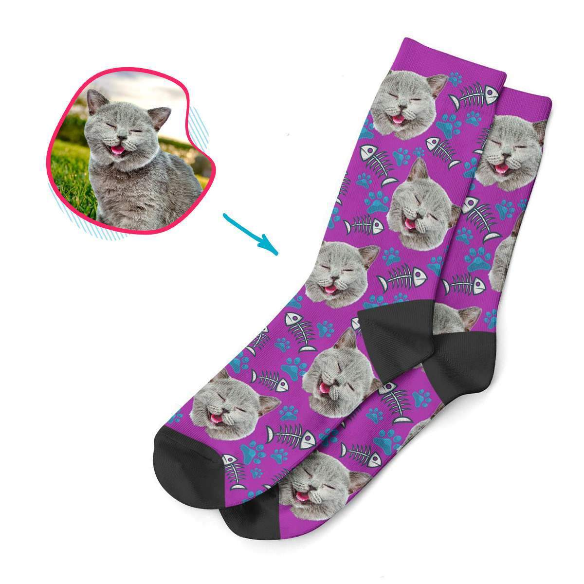 purple Cat socks personalized with photo of face printed on them