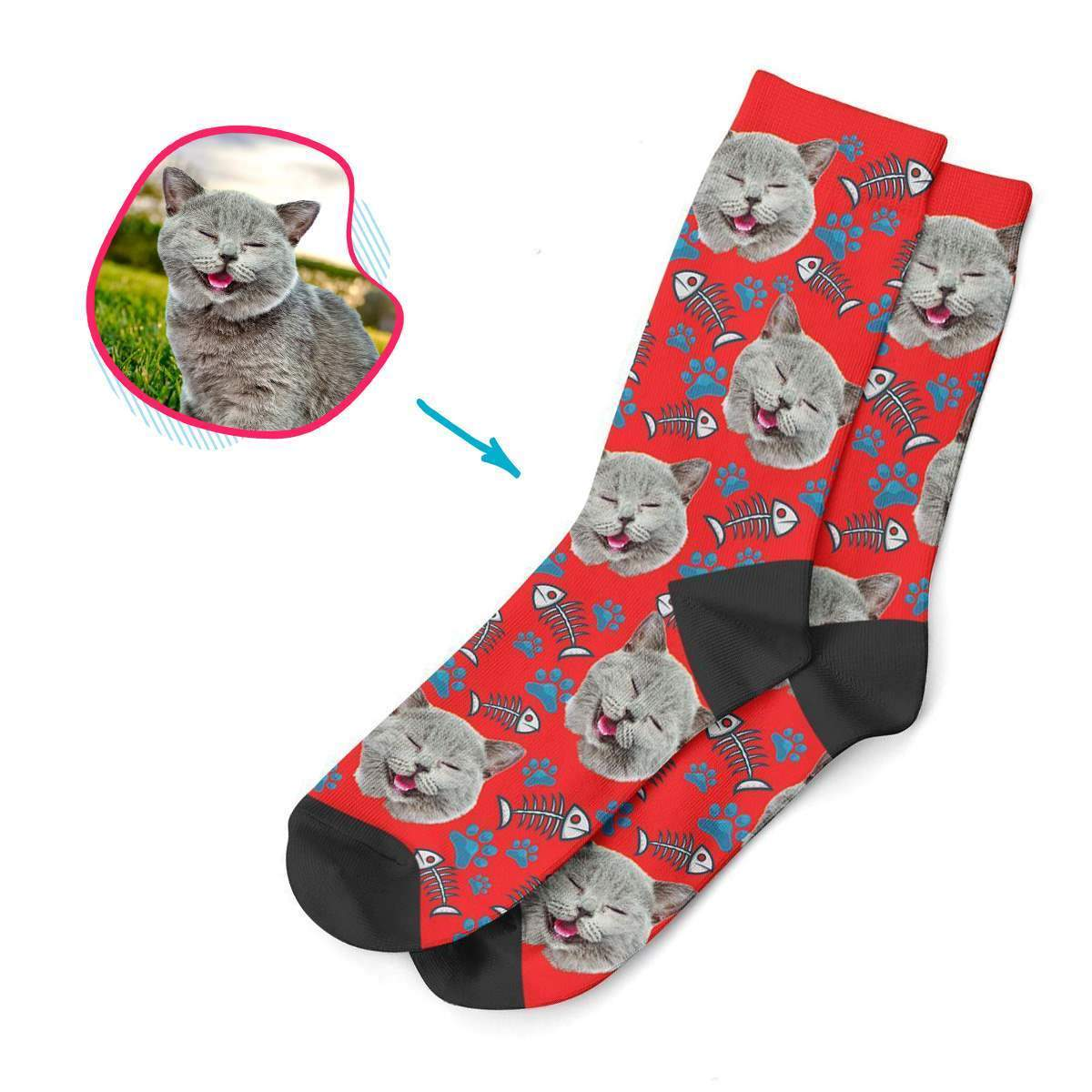 red Cat socks personalized with photo of face printed on them