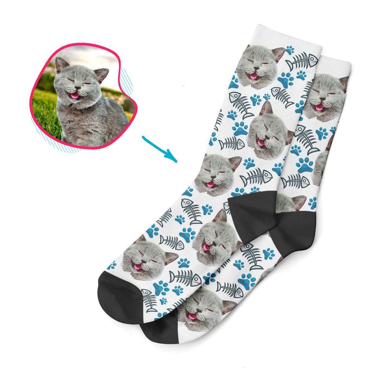 white Cat socks personalized with photo of face printed on them