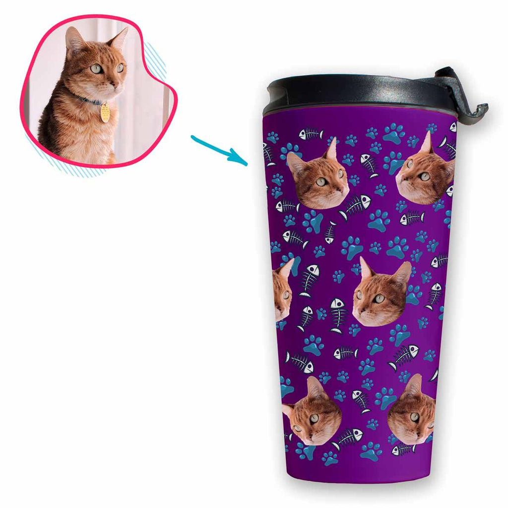 purple Cat travel mug personalized with photo of face printed on it