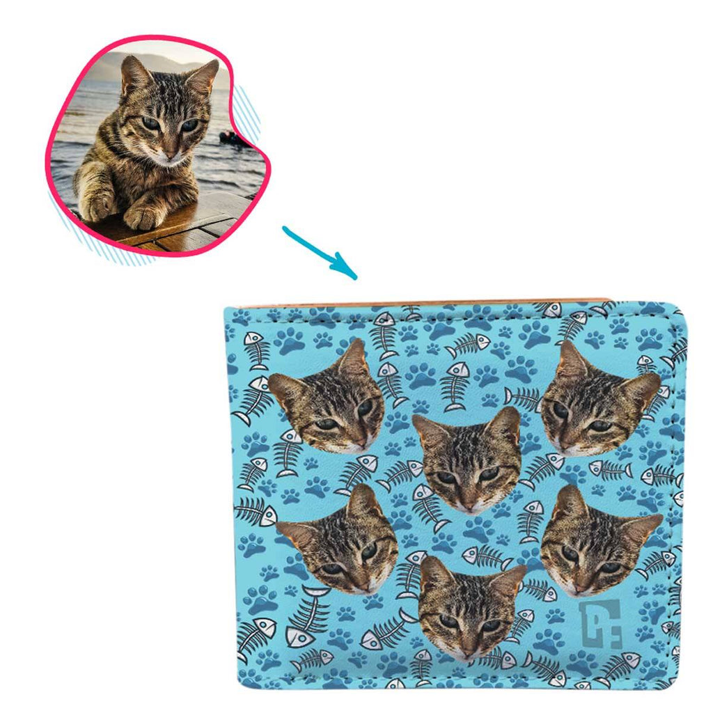 blue Cat wallet personalized with photo of face printed on it