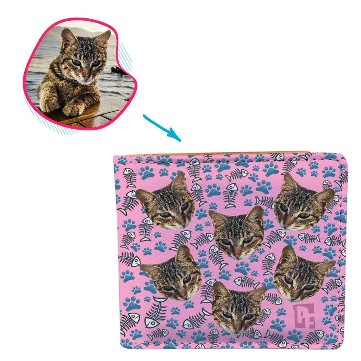 pink Cat wallet personalized with photo of face printed on it