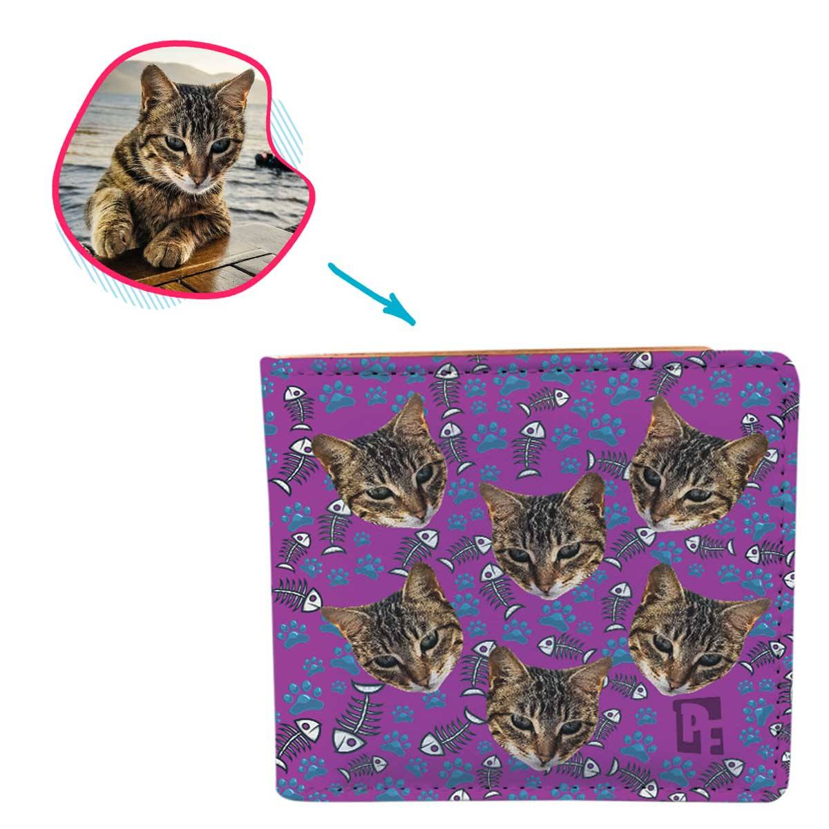 purple Cat wallet personalized with photo of face printed on it