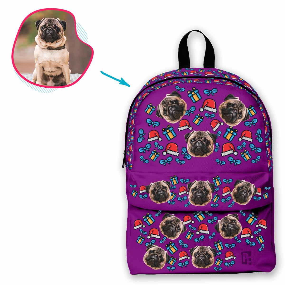 purple Christmas Hat classic backpack personalized with photo of face printed on it