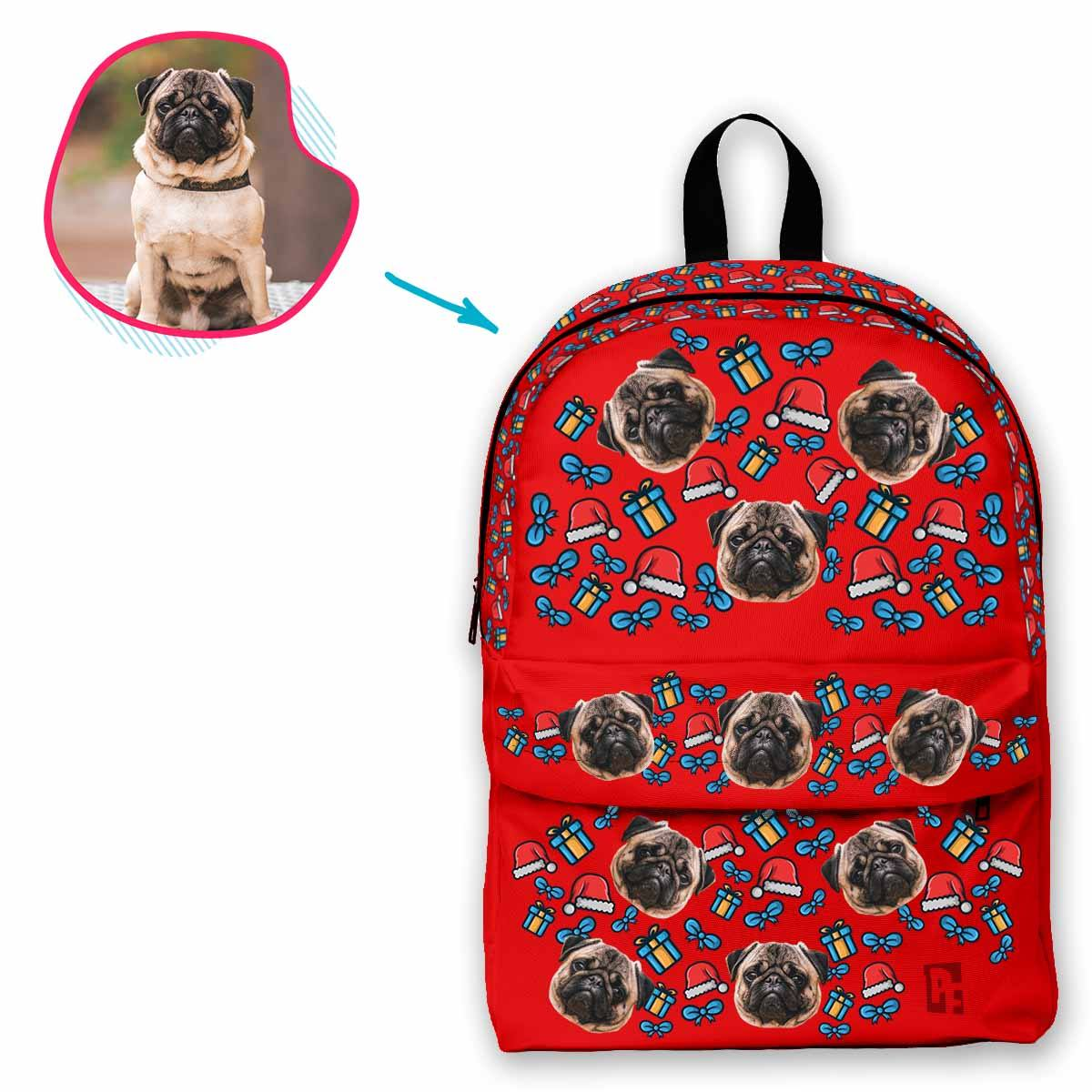 red Christmas Hat classic backpack personalized with photo of face printed on it