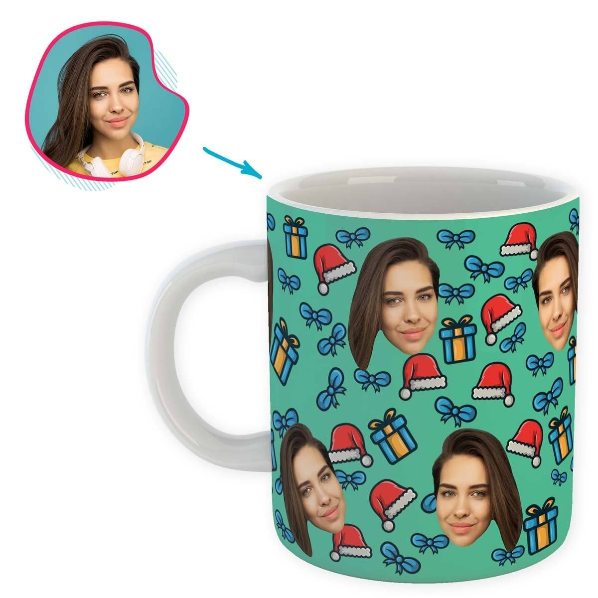 mint Christmas Hat mug personalized with photo of face printed on it