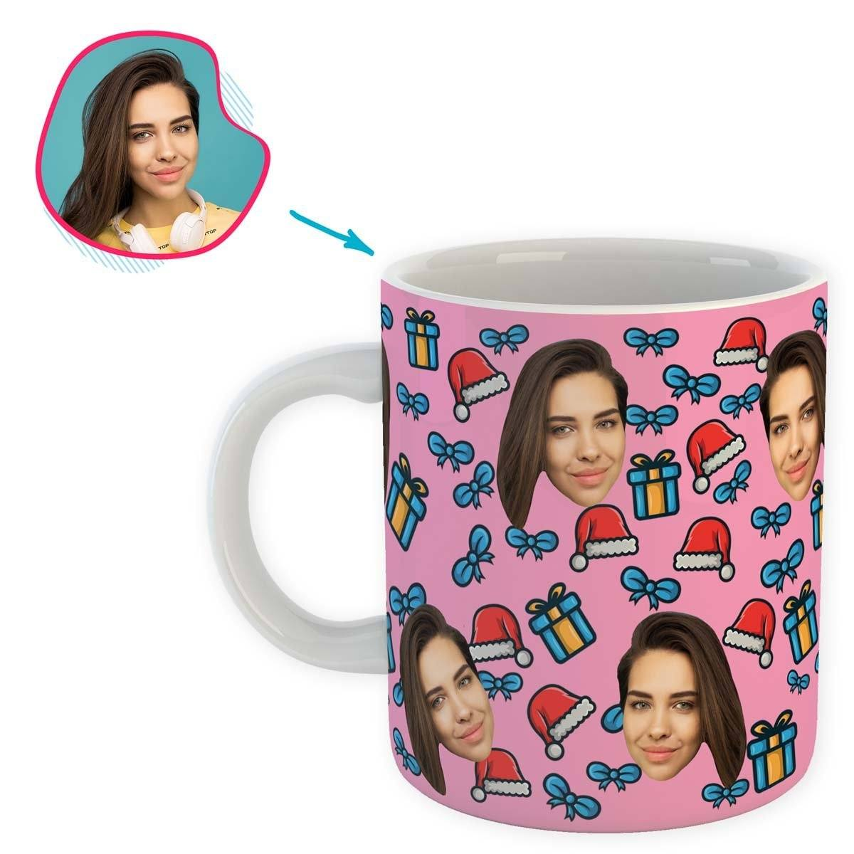 pink Christmas Hat mug personalized with photo of face printed on it