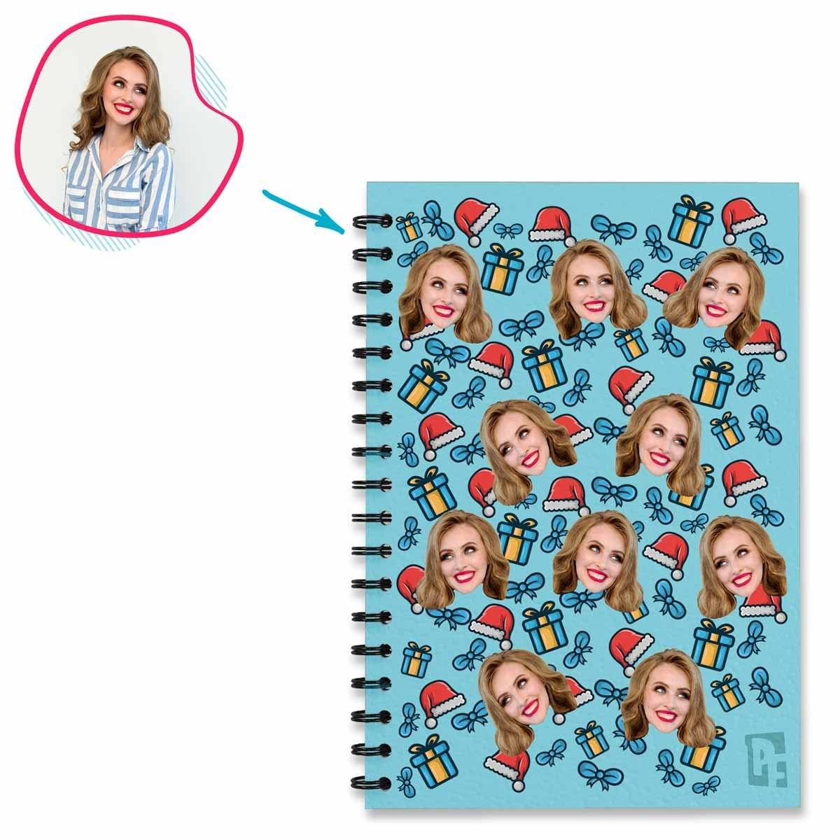 blue Christmas Hat Notebook personalized with photo of face printed on them