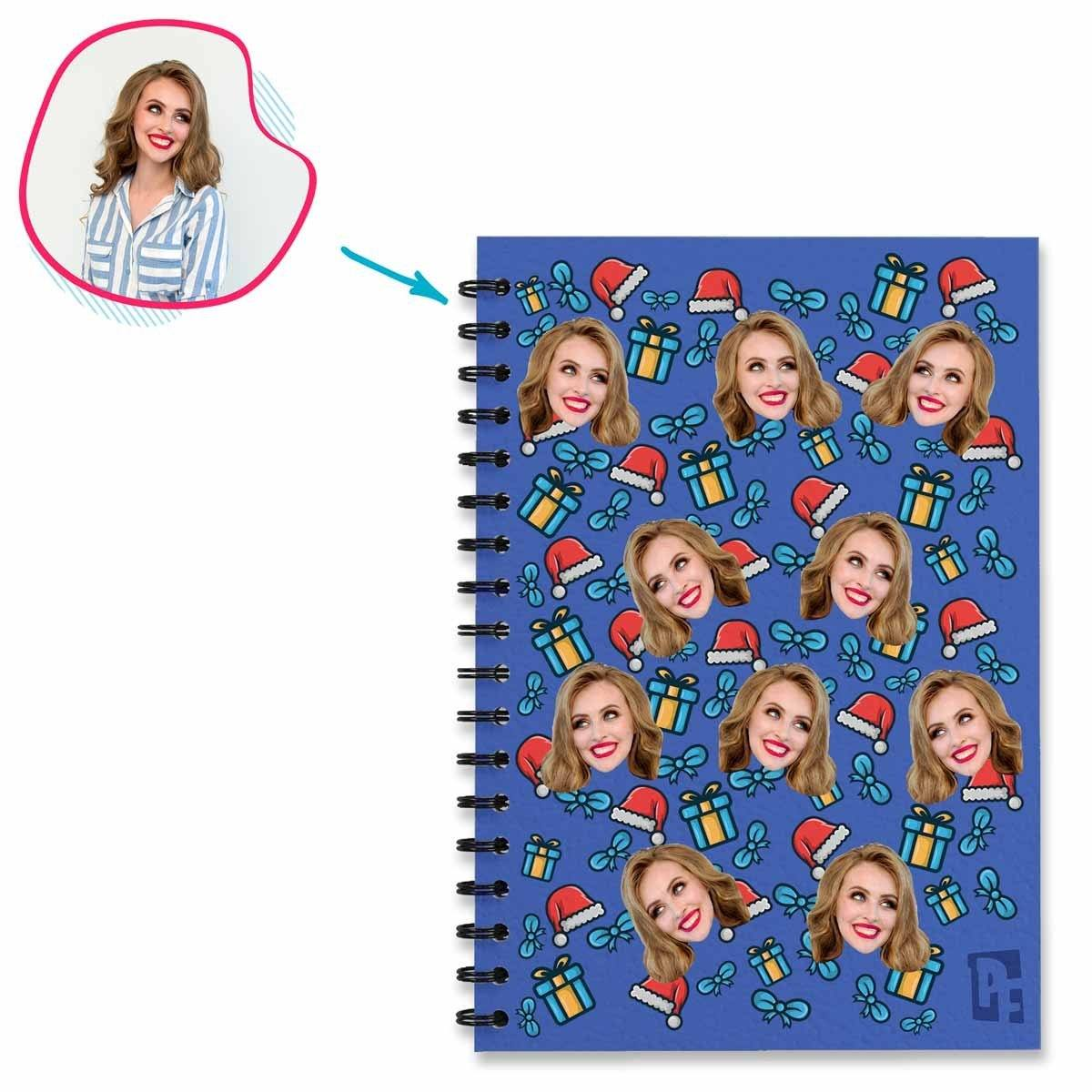 darkblue Christmas Hat Notebook personalized with photo of face printed on them
