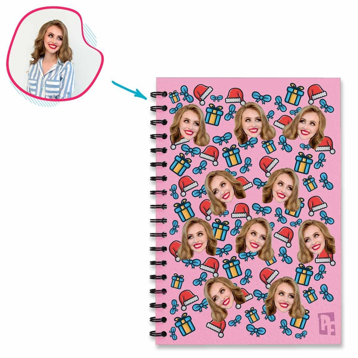 pink Christmas Hat Notebook personalized with photo of face printed on them
