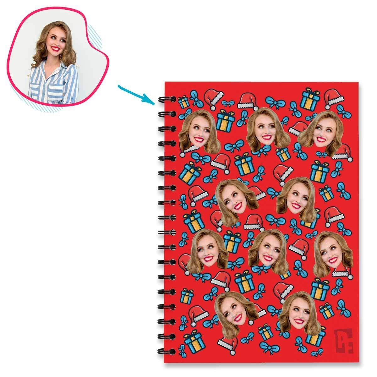 red Christmas Hat Notebook personalized with photo of face printed on them