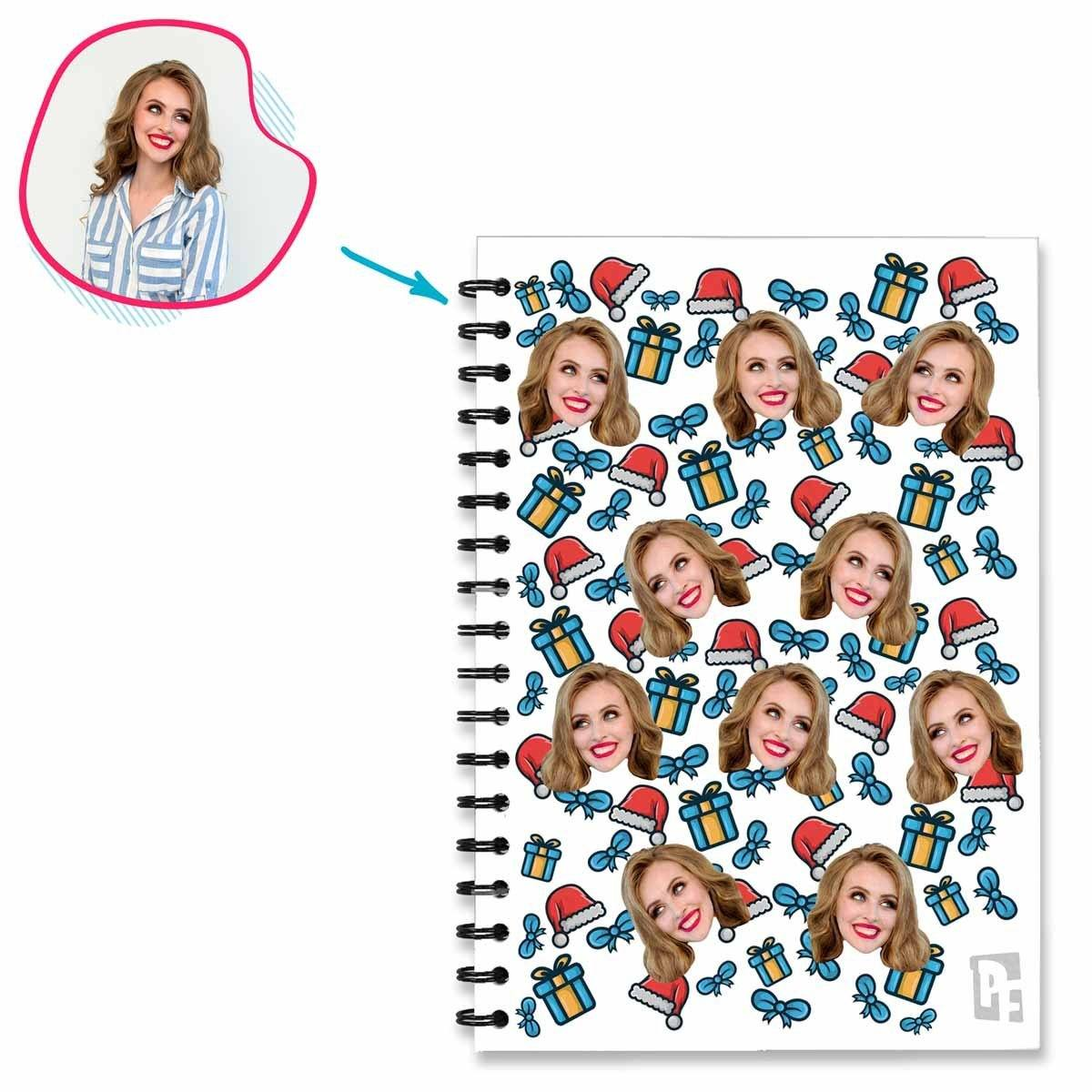 white Christmas Hat Notebook personalized with photo of face printed on them