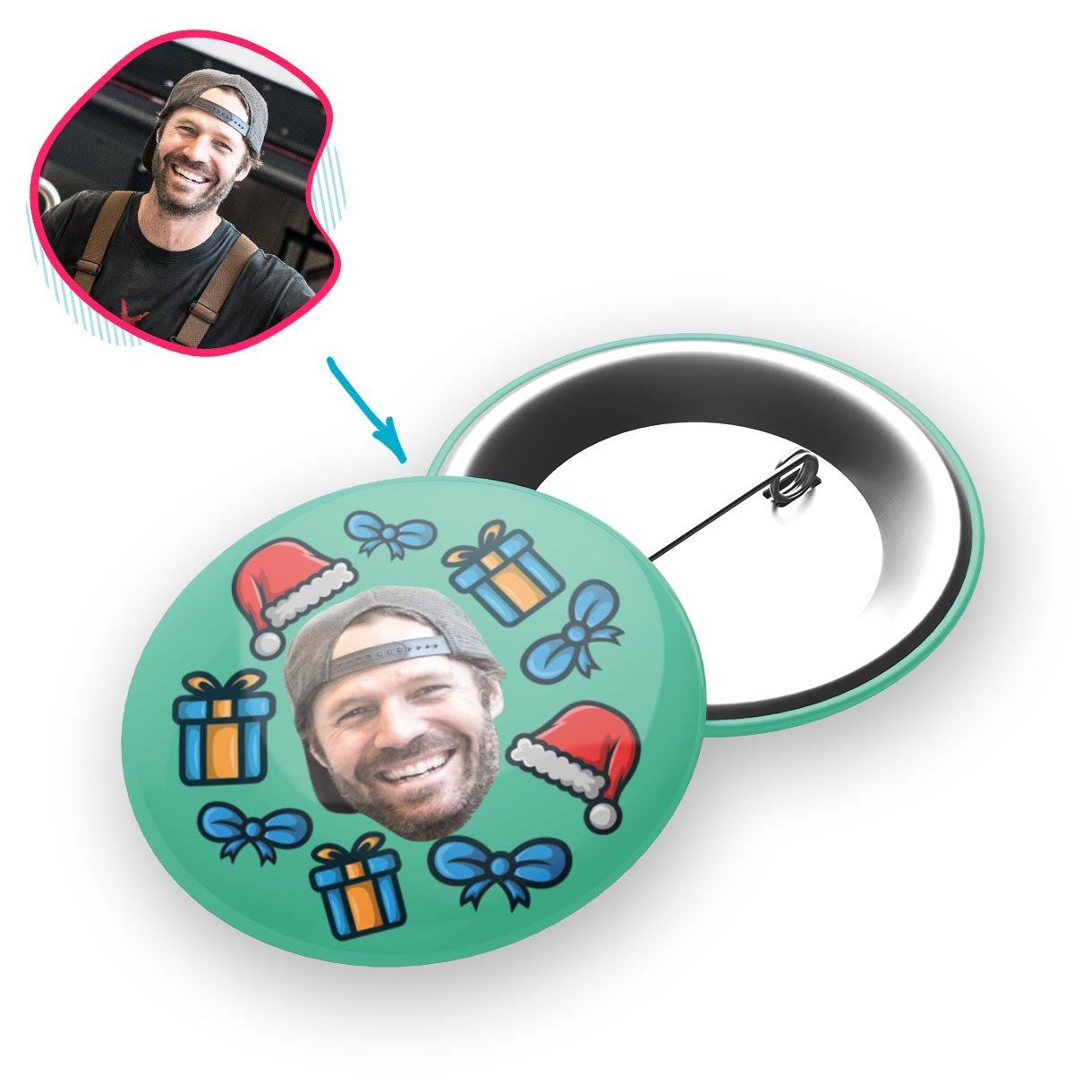 mint Christmas Hat pin personalized with photo of face printed on it