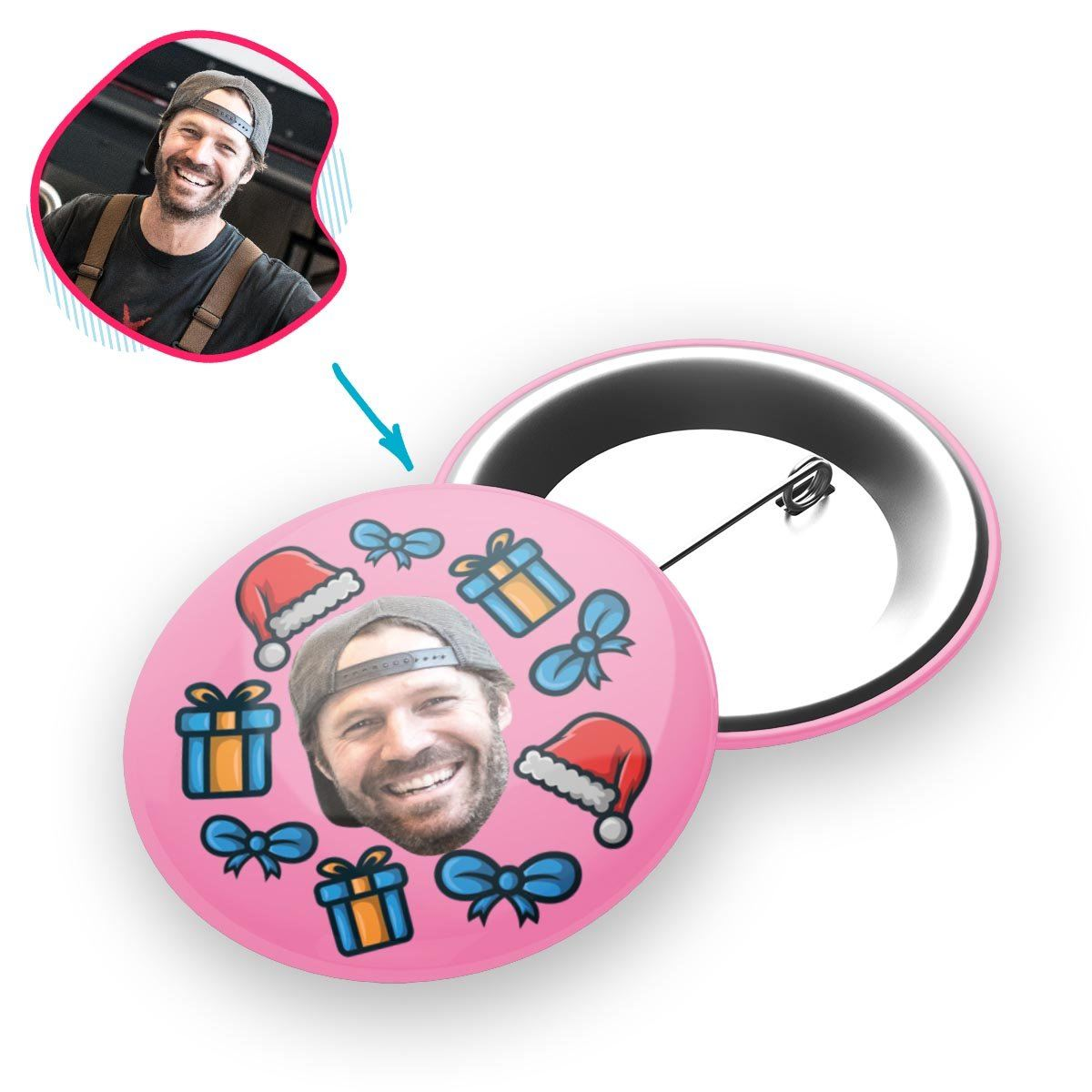 pink Christmas Hat pin personalized with photo of face printed on it