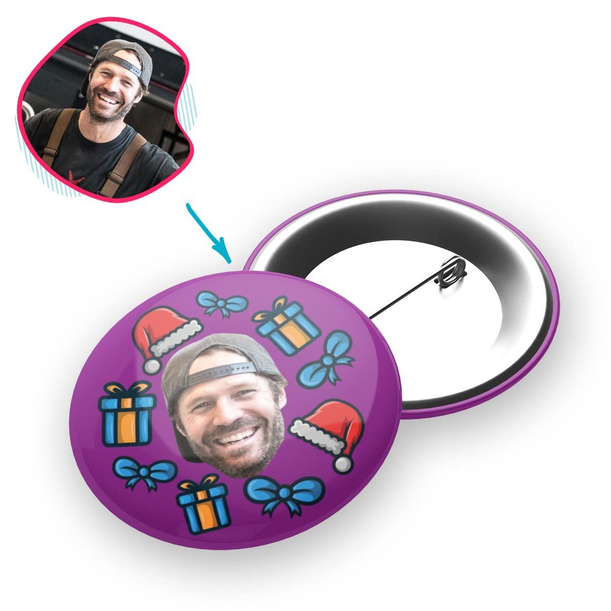 purple Christmas Hat pin personalized with photo of face printed on it