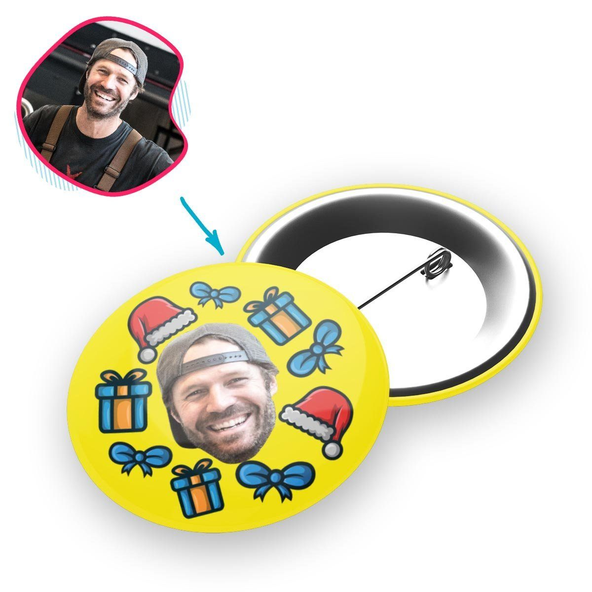 yellow Christmas Hat pin personalized with photo of face printed on it