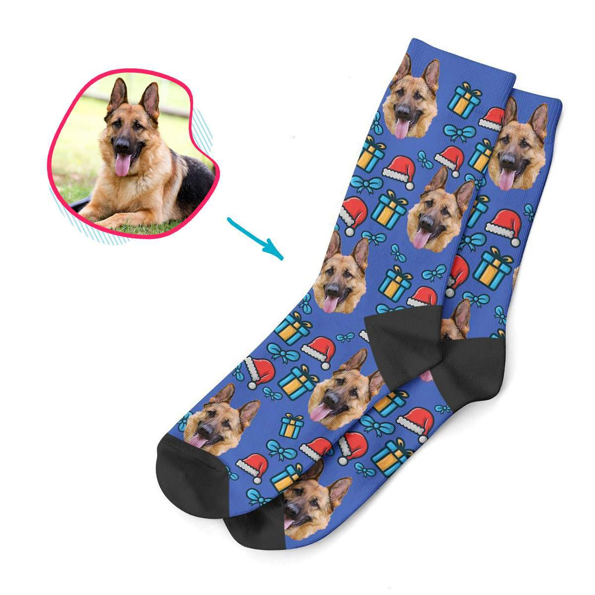 darkblue Christmas Hat socks personalized with photo of face printed on them