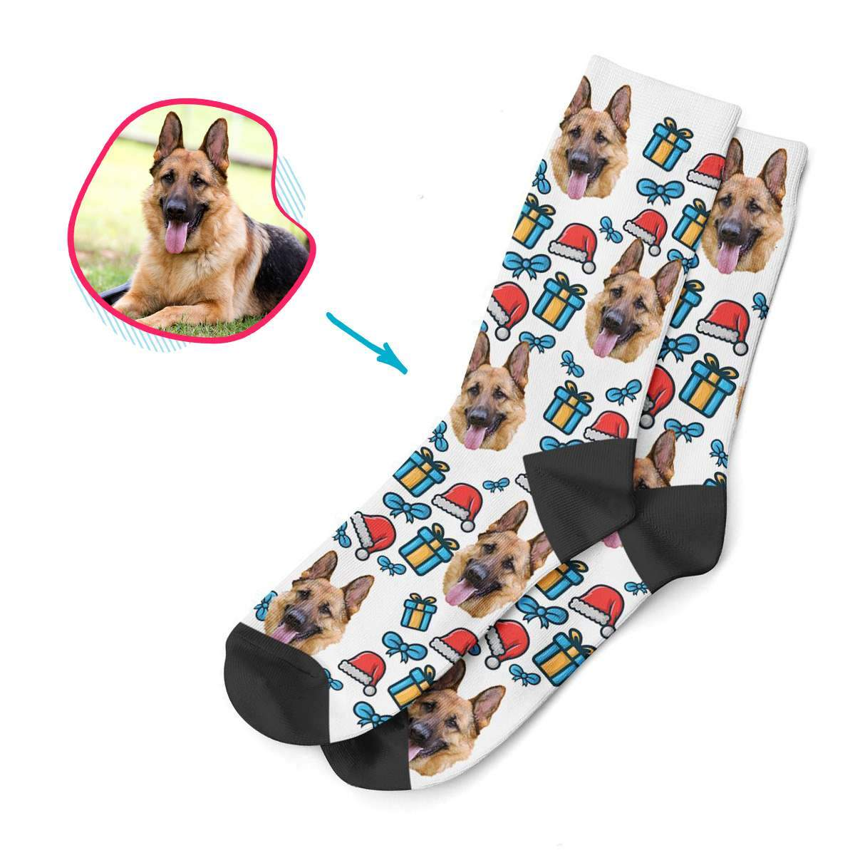 white Christmas Hat socks personalized with photo of face printed on them