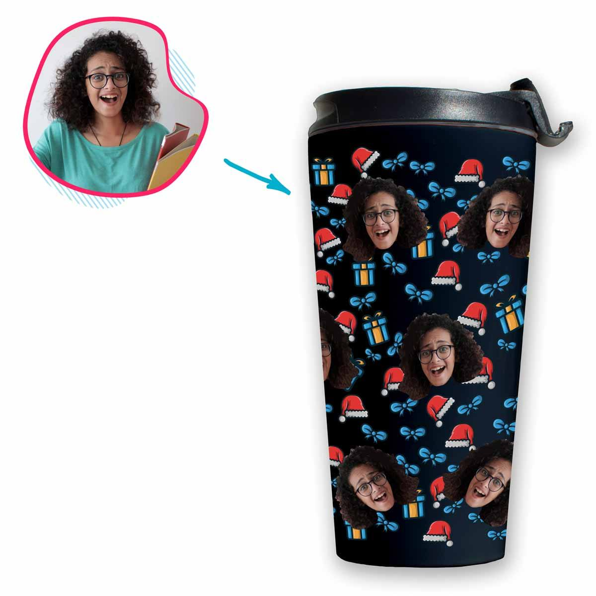 dark Christmas Hat travel mug personalized with photo of face printed on it