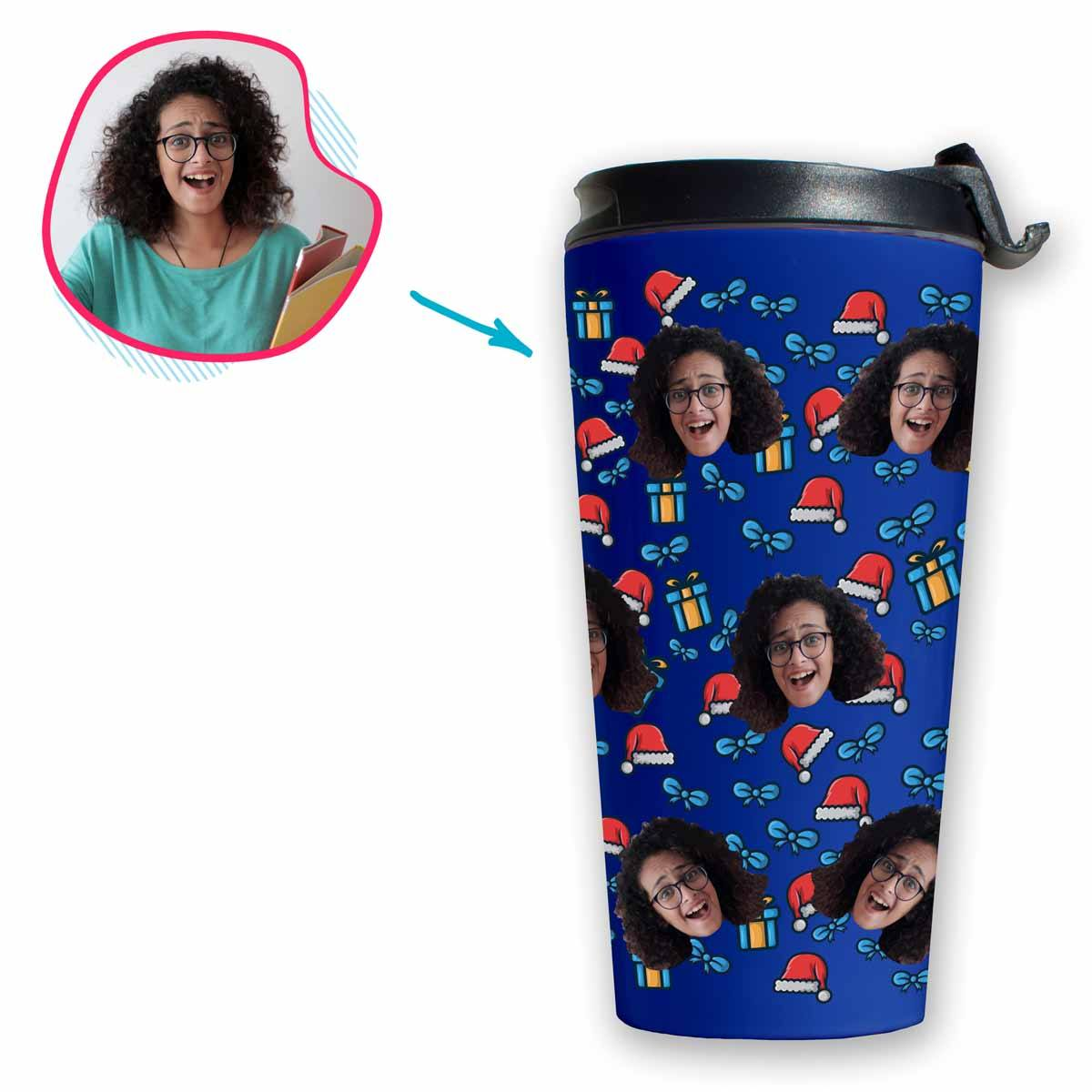 darkblue Christmas Hat travel mug personalized with photo of face printed on it