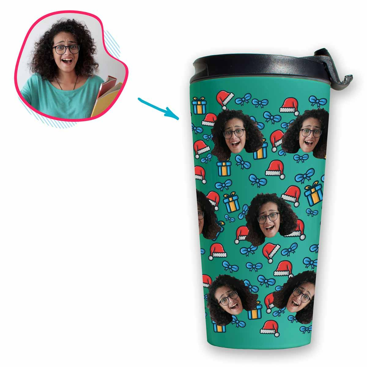 mint Christmas Hat travel mug personalized with photo of face printed on it