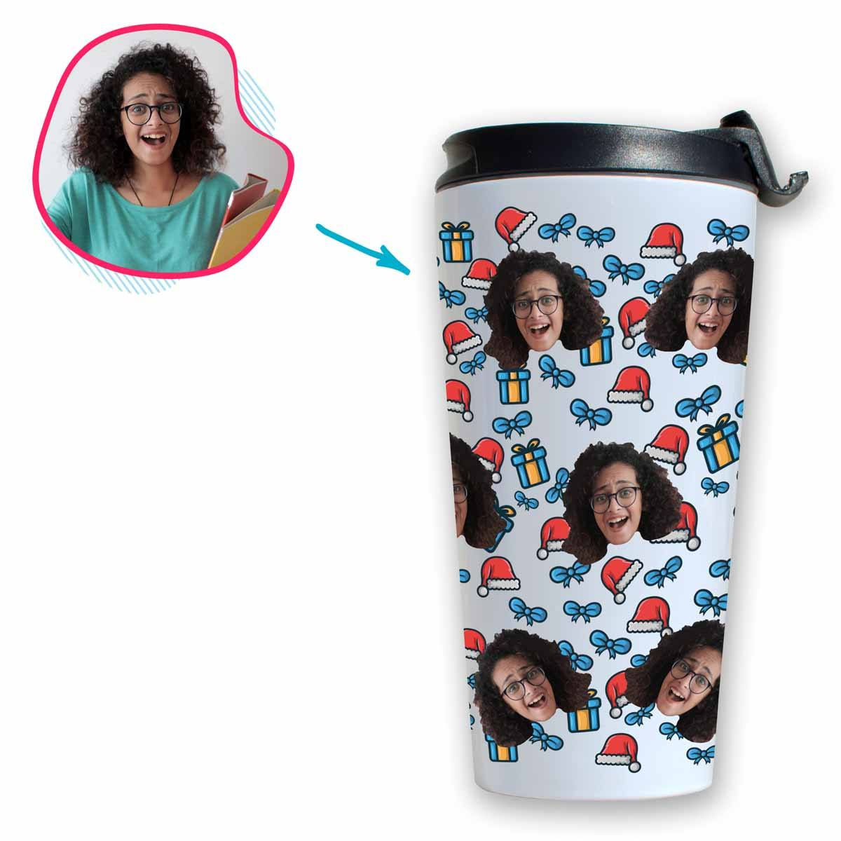 white Christmas Hat travel mug personalized with photo of face printed on it