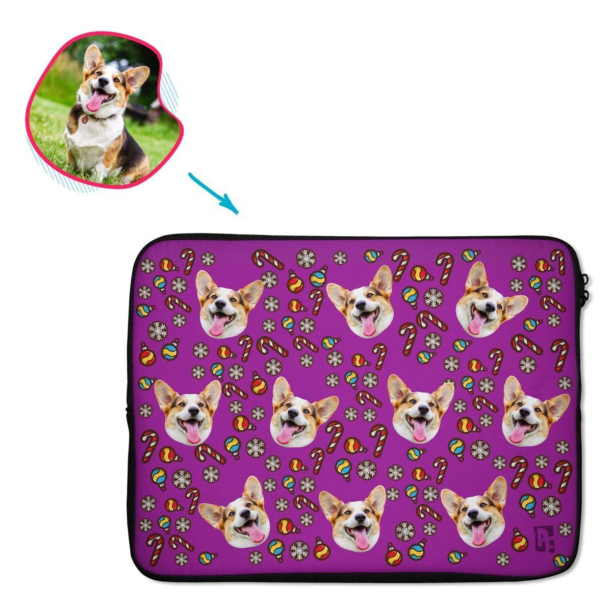 purple Christmas Tree Toy laptop sleeve personalized with photo of face printed on them