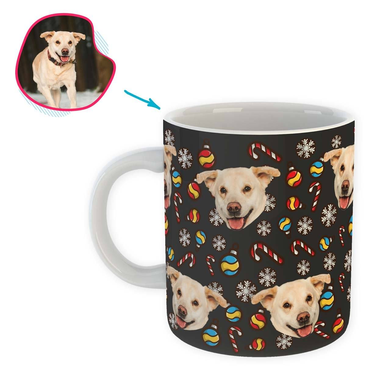 dark Christmas Tree Toy mug personalized with photo of face printed on it