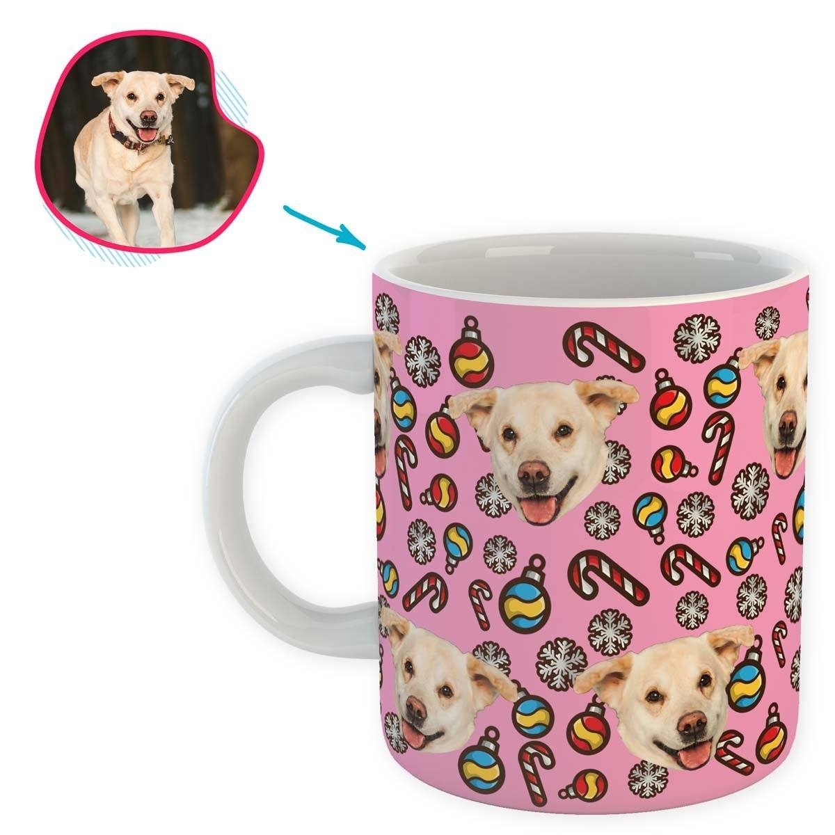 pink Christmas Tree Toy mug personalized with photo of face printed on it