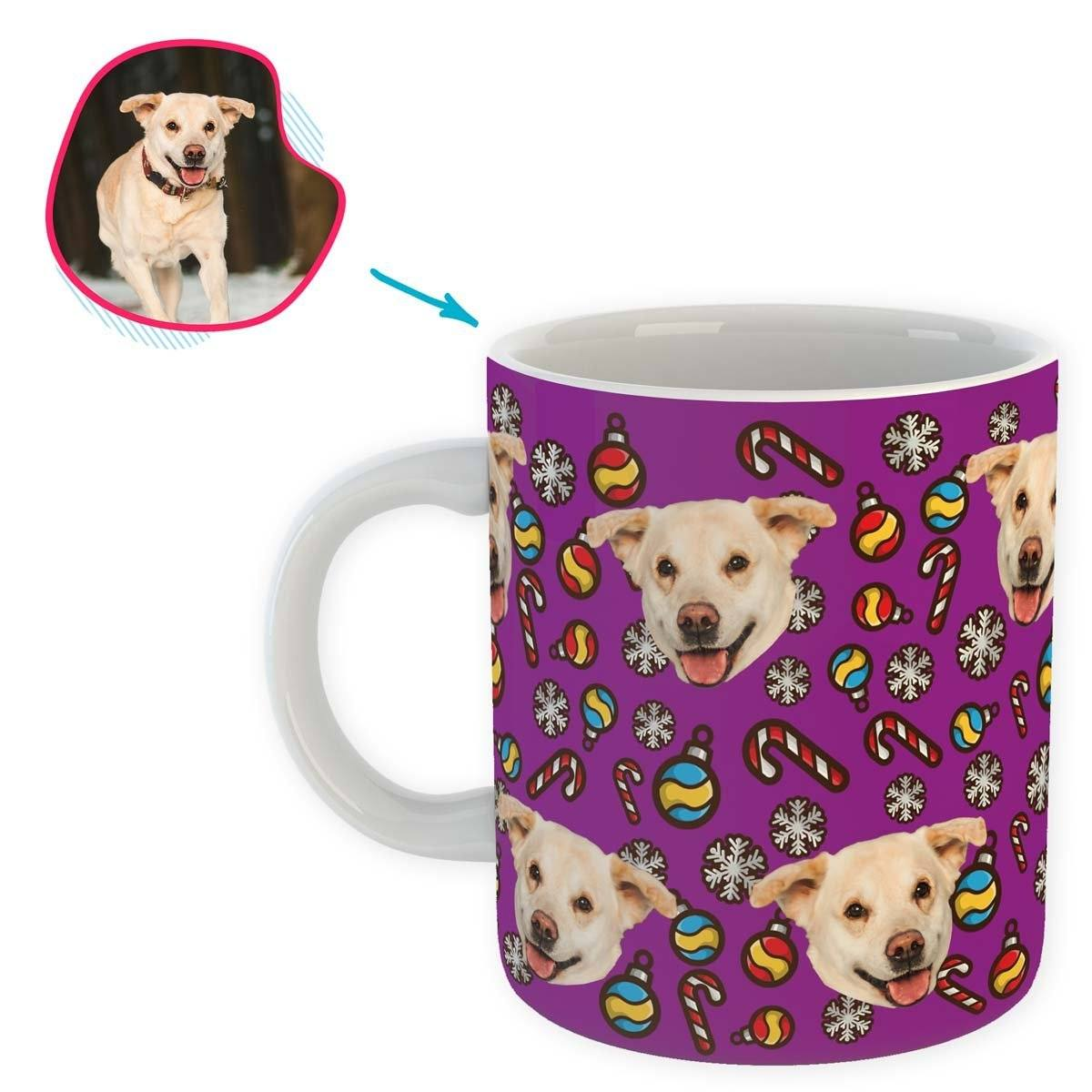 purple Christmas Tree Toy mug personalized with photo of face printed on it