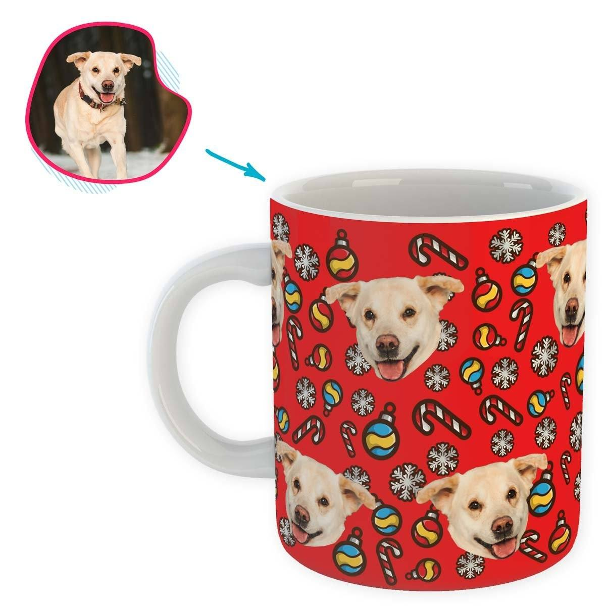 red Christmas Tree Toy mug personalized with photo of face printed on it