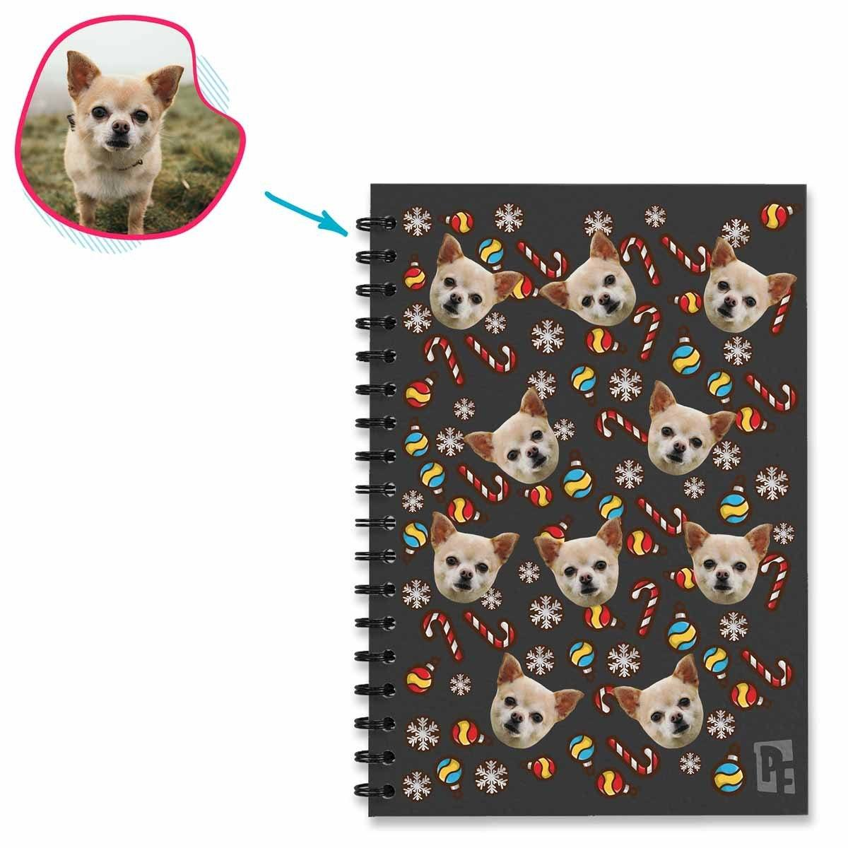 dark Christmas Tree Toy Notebook personalized with photo of face printed on them