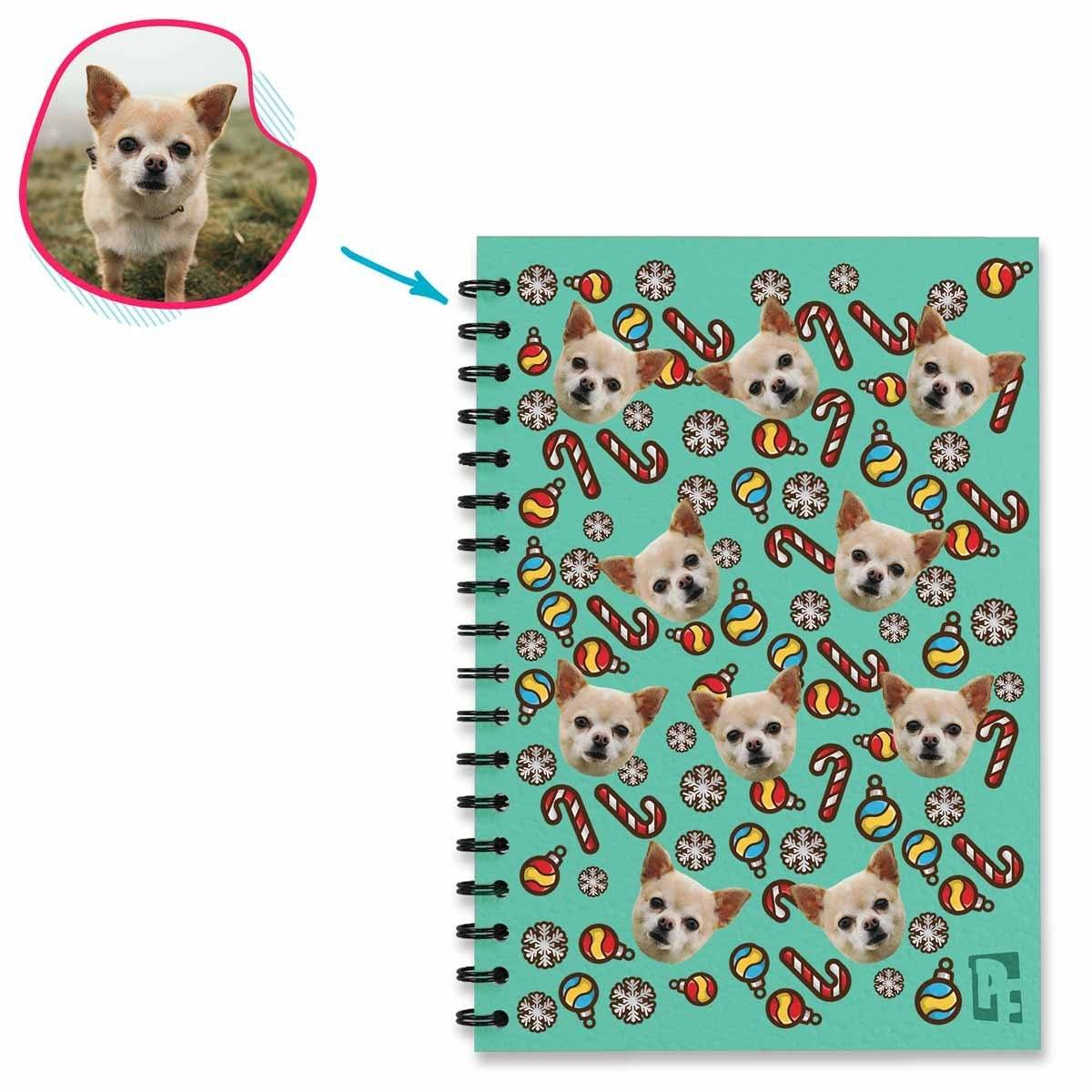 mint Christmas Tree Toy Notebook personalized with photo of face printed on them