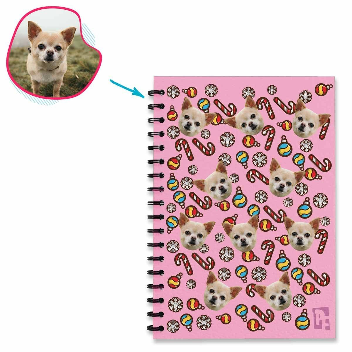 pink Christmas Tree Toy Notebook personalized with photo of face printed on them