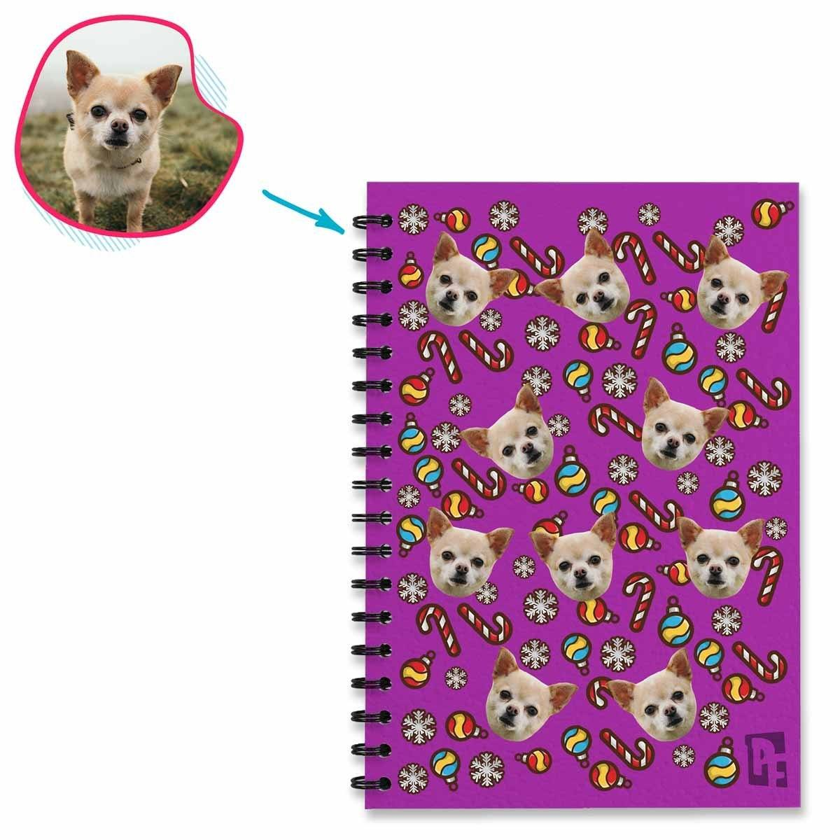 purple Christmas Tree Toy Notebook personalized with photo of face printed on them
