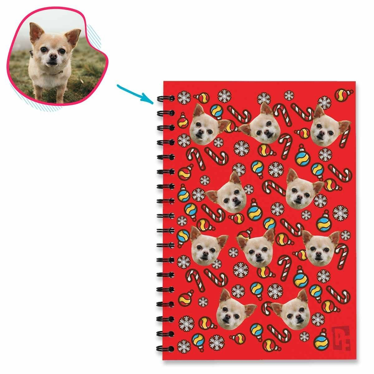 red Christmas Tree Toy Notebook personalized with photo of face printed on them