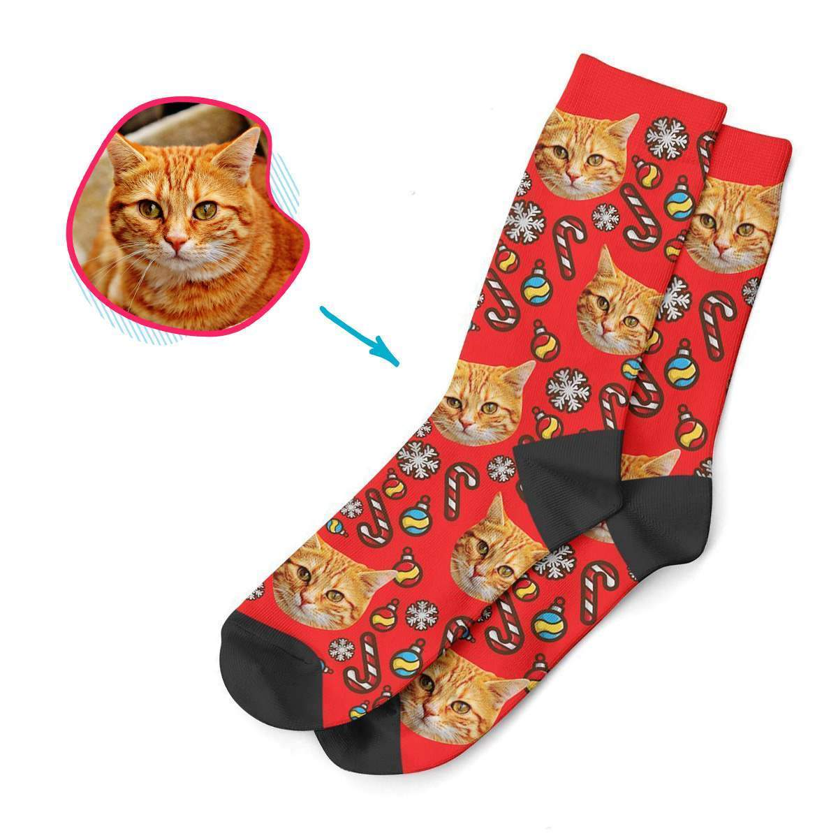 red Christmas Tree Toy socks personalized with photo of face printed on them