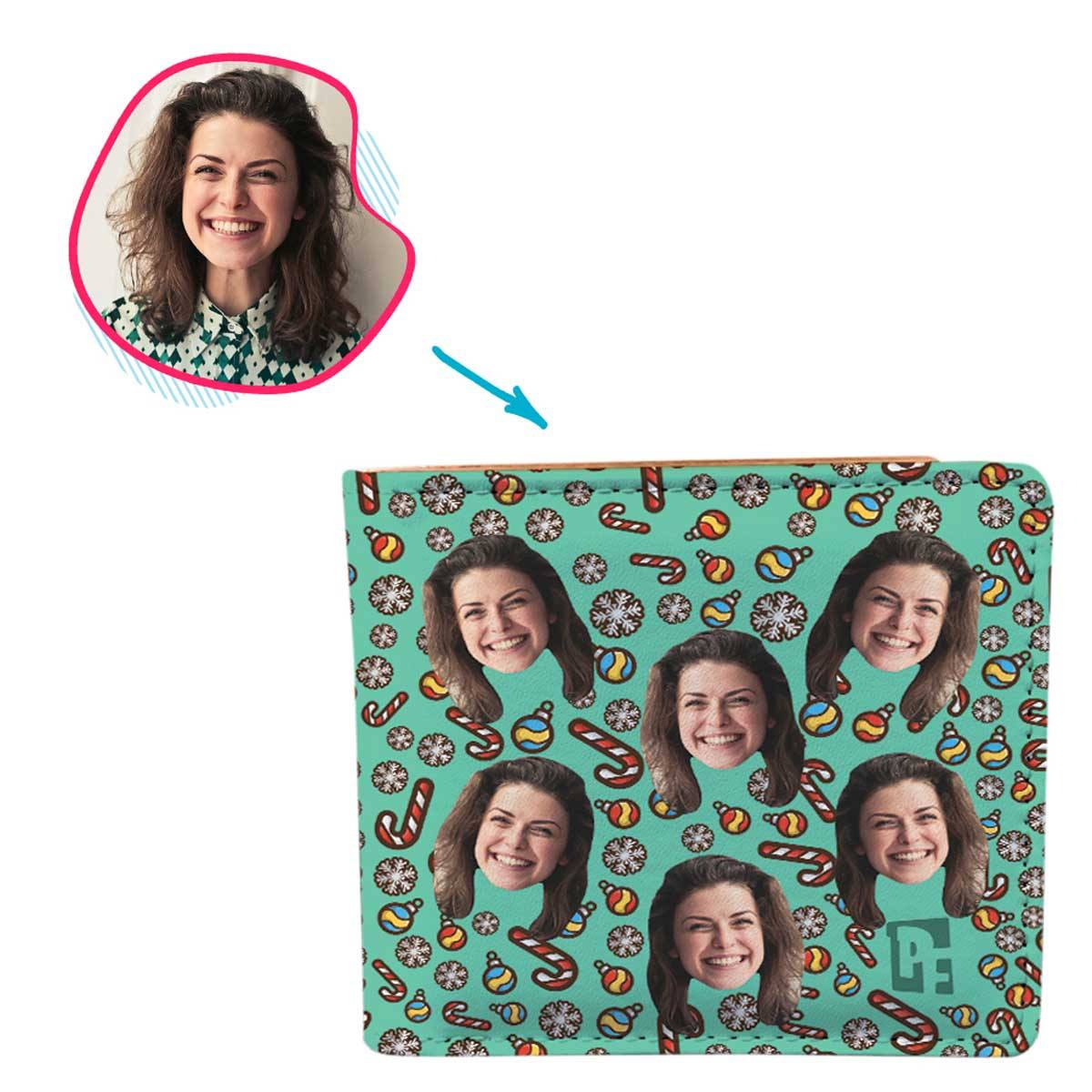 mint Christmas Tree Toy wallet personalized with photo of face printed on it