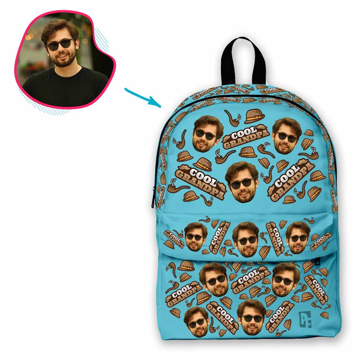 blue Cool Grandfather classic backpack personalized with photo of face printed on it
