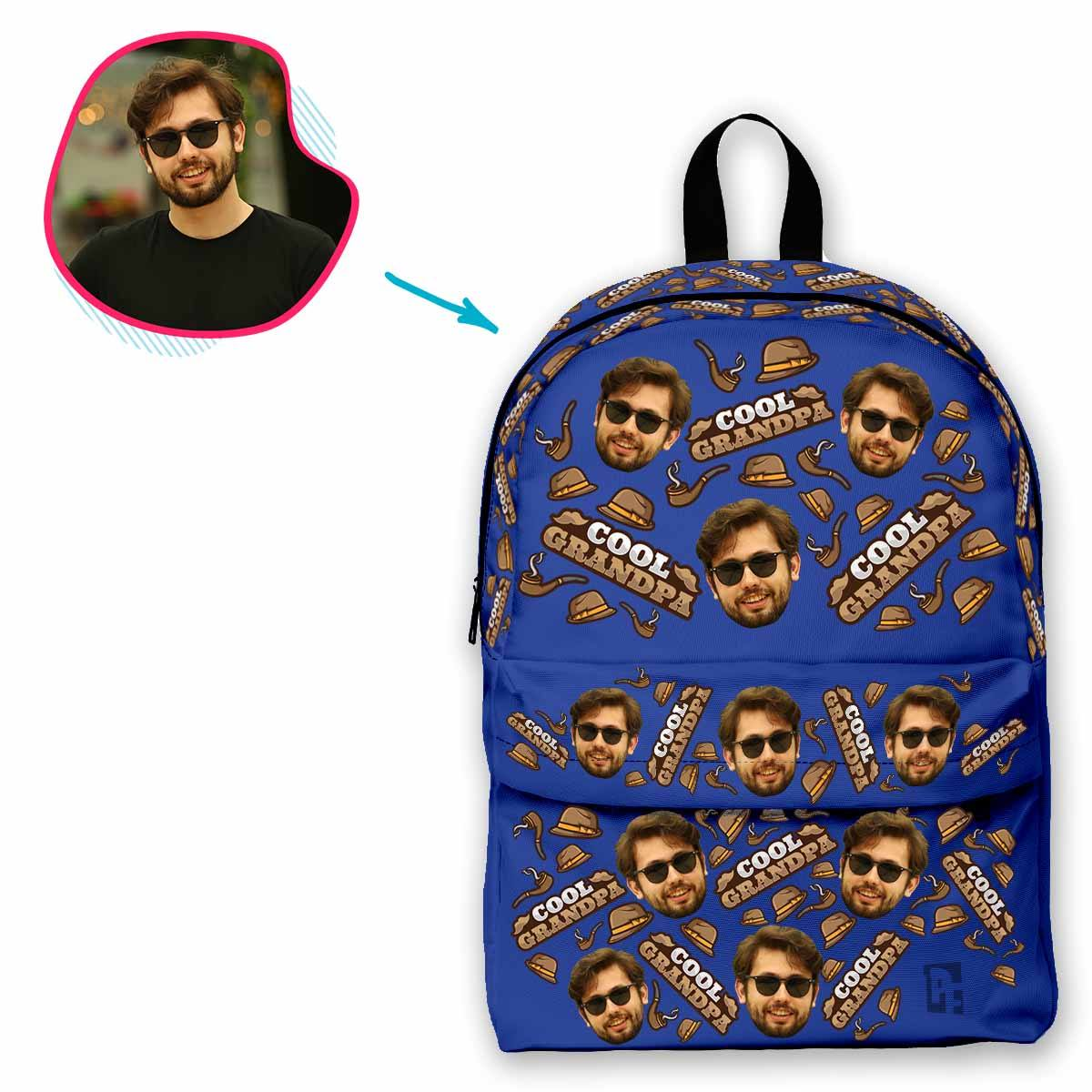 darkblue Cool Grandfather classic backpack personalized with photo of face printed on it