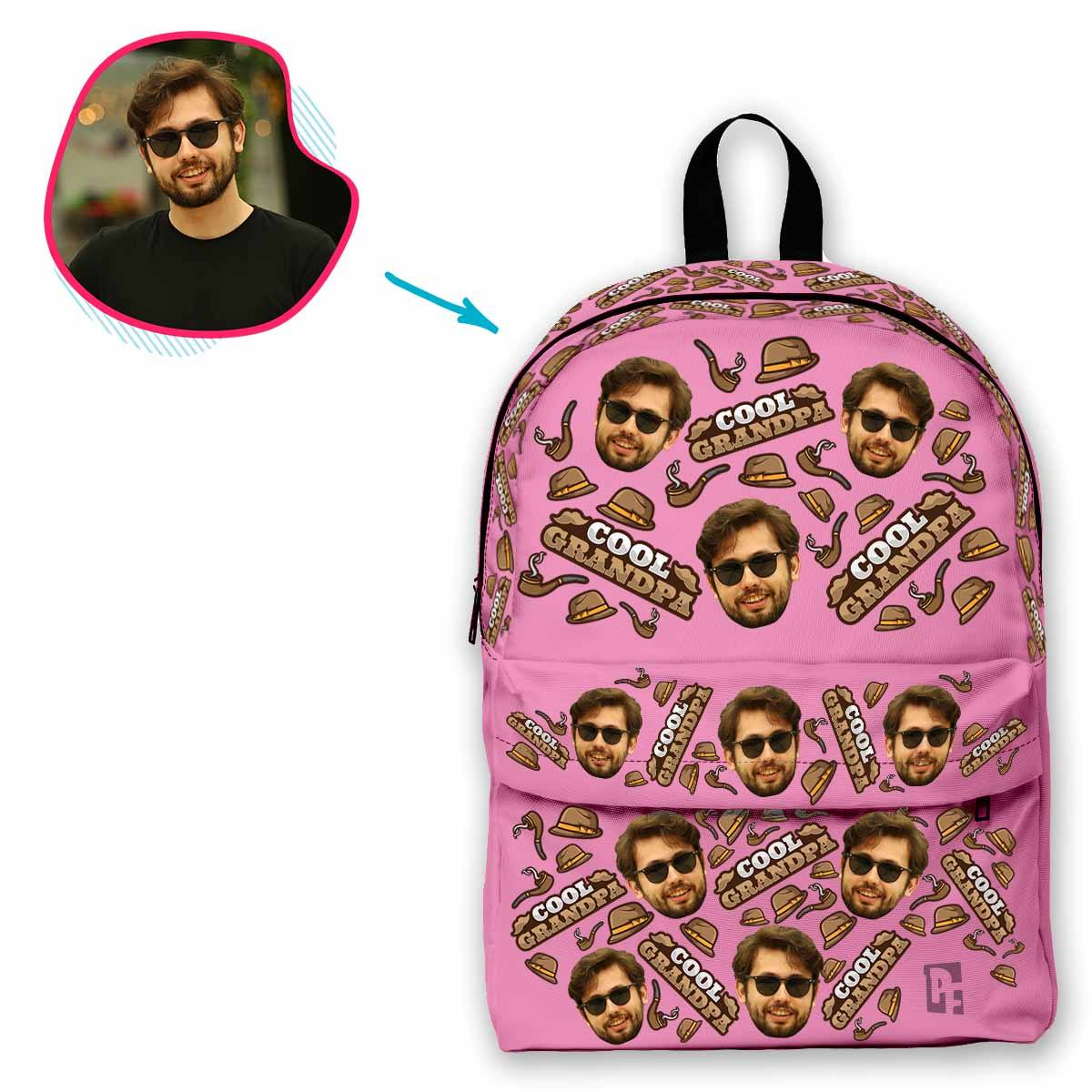 pink Cool Grandfather classic backpack personalized with photo of face printed on it