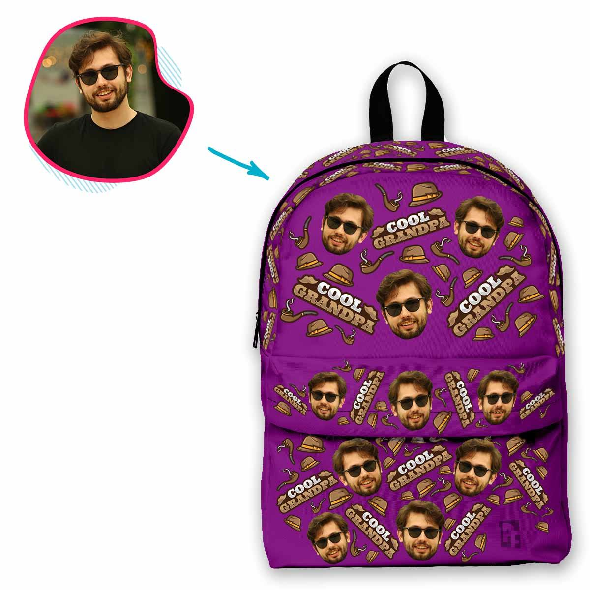 purple Cool Grandfather classic backpack personalized with photo of face printed on it