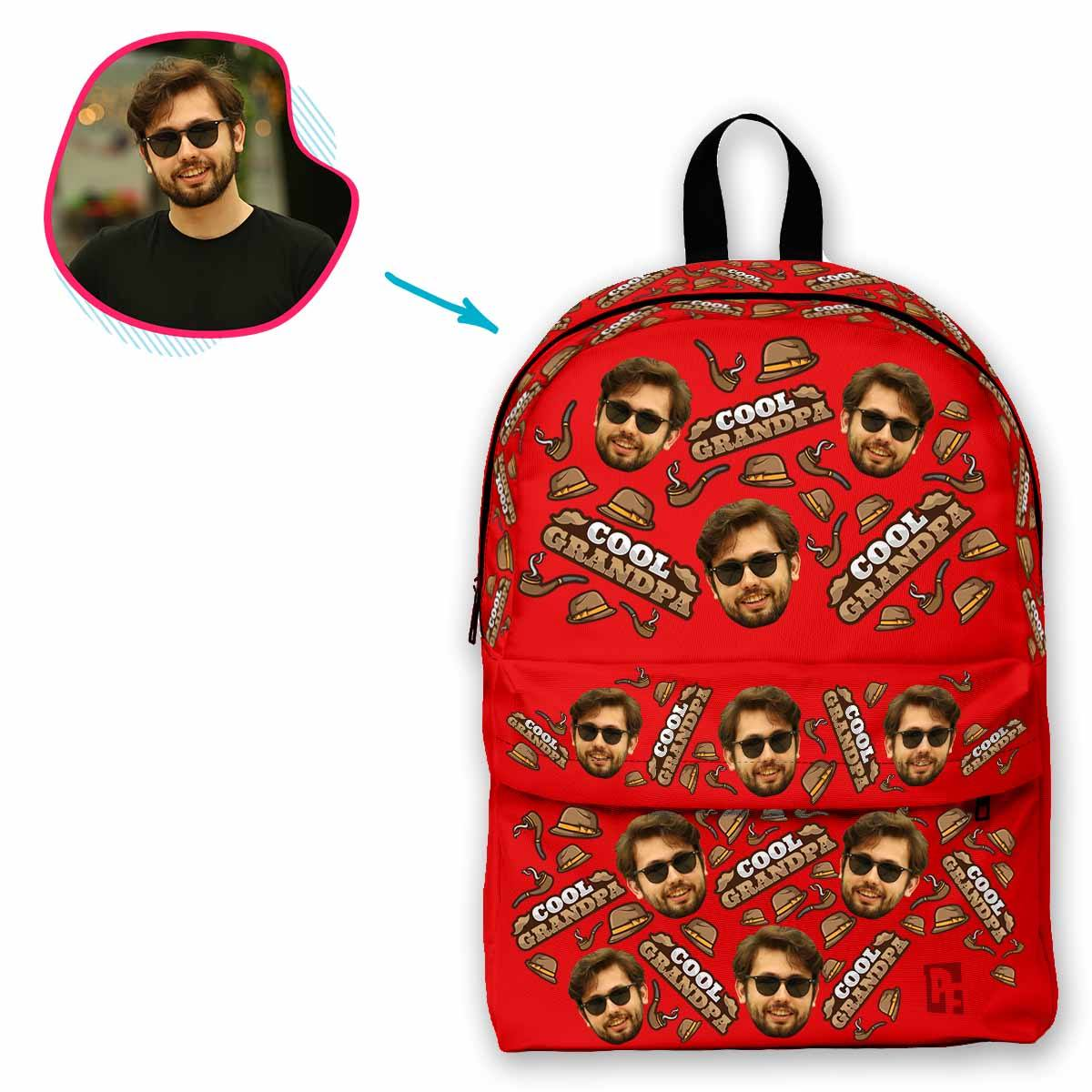red Cool Grandfather classic backpack personalized with photo of face printed on it