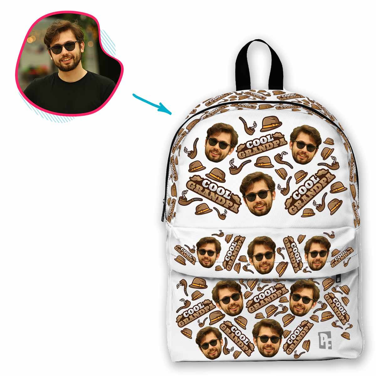 white Cool Grandfather classic backpack personalized with photo of face printed on it