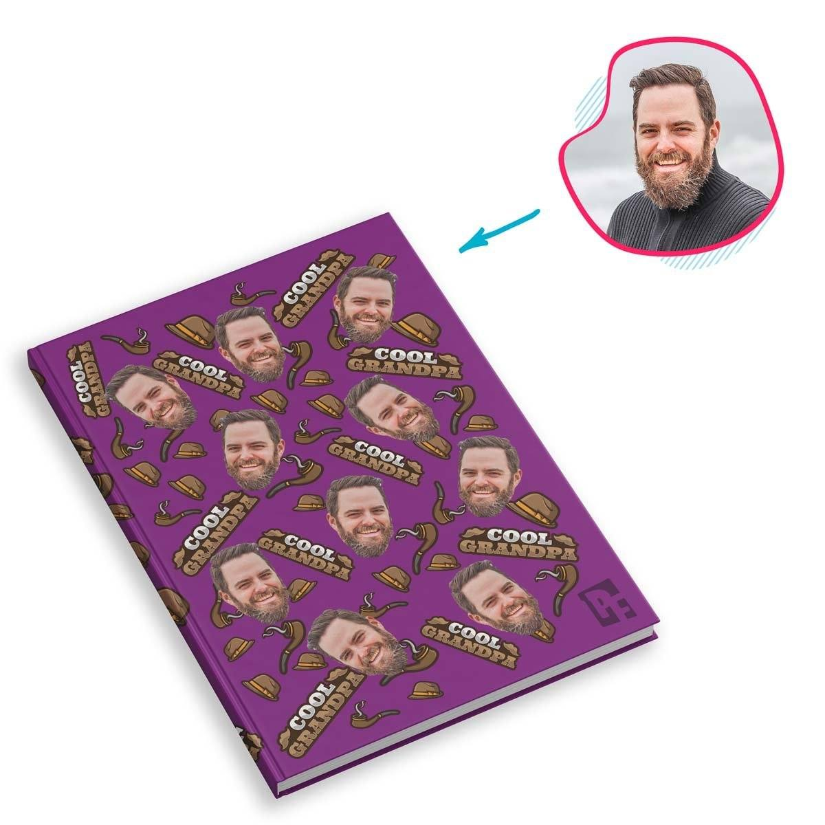 purple Cool Grandfather Notebook personalized with photo of face printed on them