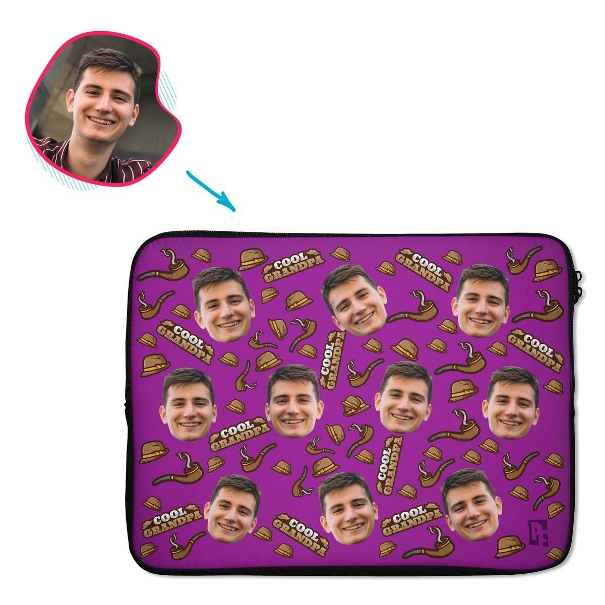 purple Cool Grandfather laptop sleeve personalized with photo of face printed on them
