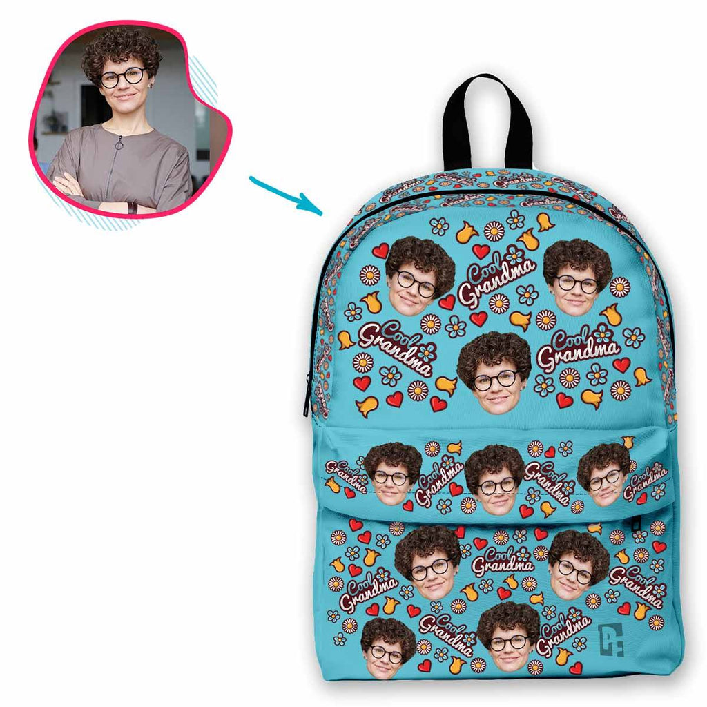 blue Cool Grandmother classic backpack personalized with photo of face printed on it